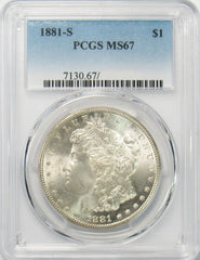 1881 S $1 Morgan Silver Dollar PCGS MS67