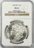 1878 8TF $1 Morgan Silver Dollar NGC MS63