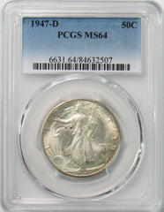 1947 D 50¢ Walking Liberty Half Dollar PCGS MS64
