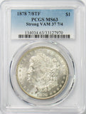 1878 7/8TF $1 Morgan Silver Dollar PCGS MS63 Strong VAM 37 7/4