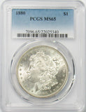 1880 P $1 Morgan Silver Dollar PGCS MS65 BLAST WHITE