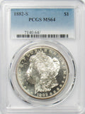 1882 S $1 Morgan Silver Dollar PCGS MS64