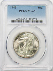 1942 50¢ Walking Liberty Half Dollar PCGS MS65