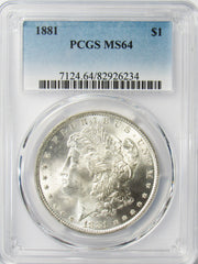 1881 P $1 Morgan Silver Dollar MS64 PCGS