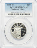 1998 W $50 1/2 Oz. Platinum Statue of Liberty PCGS PR70DCAM