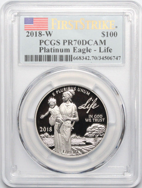 2018-W $100 American Platinum Eagle - Life PR70DCAM PCGS First Strike Label