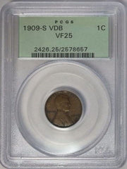 1909-S VDB 1C Lincoln Wheat Cent Penny PCGS VF25 Green Label Key Date