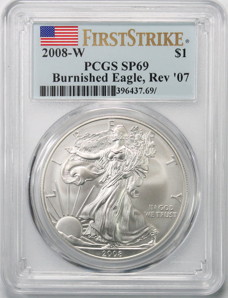 2008 W Reverse 2007 $1 Silver Eagle PCGS SP69 First Strike