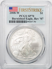 2008 W Reverse 2007 $1 Silver Eagle PCGS SP70 First Strike
