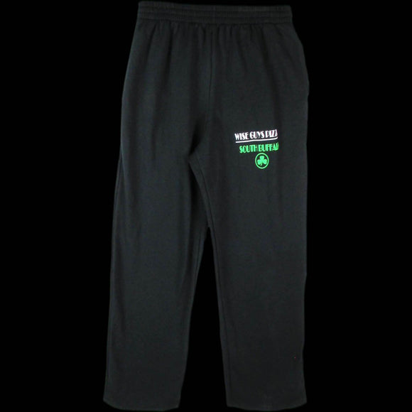 Black Sweatpants with Green Logo