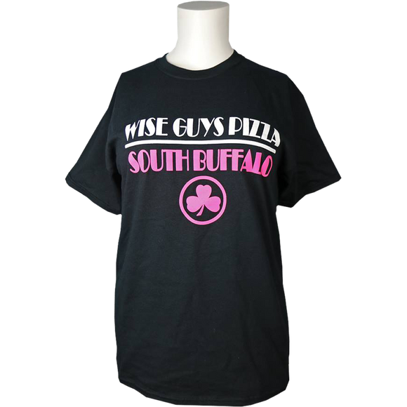 Wise Guys Pizza T-Shirt (Black & Pink)