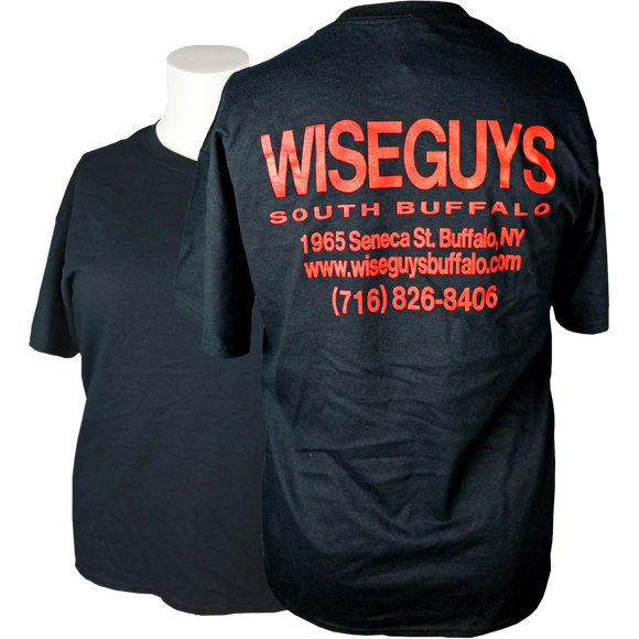 Wise Guys T-Shirt: Writing on Back (Black & Red)