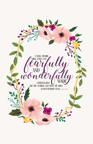 "I am Fearfully and Wonderfully Made Psalm 139:14 11"" x 17"" Poster -"