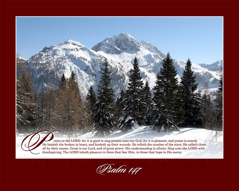 "Majestic Psalm 147 16"" x 20"" Winter Print"
