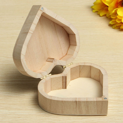 Wood Jewelry Box - Love Heart Shape
