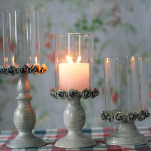 Romantic Candle Holders Rose Glass Candlestick