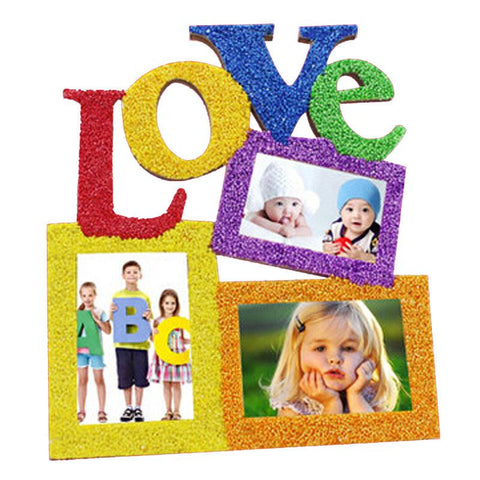 Love Wooden Family  Picture Frame White Base DIY