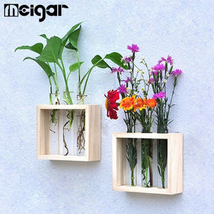 Hanging Flower Vase Bottle in Wood Stand