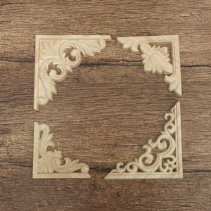 4 Styles Vintage Wood Carved Decal Corner Frame Appliques