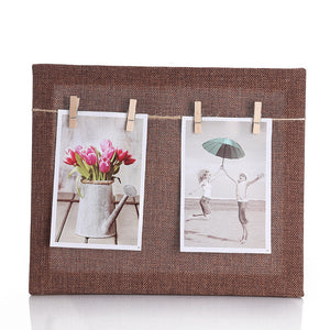 7 inch Creative Gift DIY Paper  Wall Picture Hanging Frame Album+Rope+Clips Set