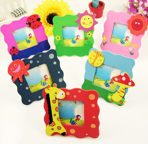 Small Wooden Children's Photo Frames Set of 6 in 6 colors