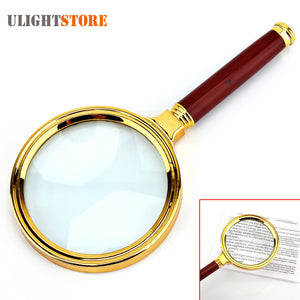 Elegant 6X Magnifier Magnifying Glass with Wooden Handle