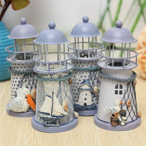 Wrought Iron Lighthouse  Candlestick Candle Holders