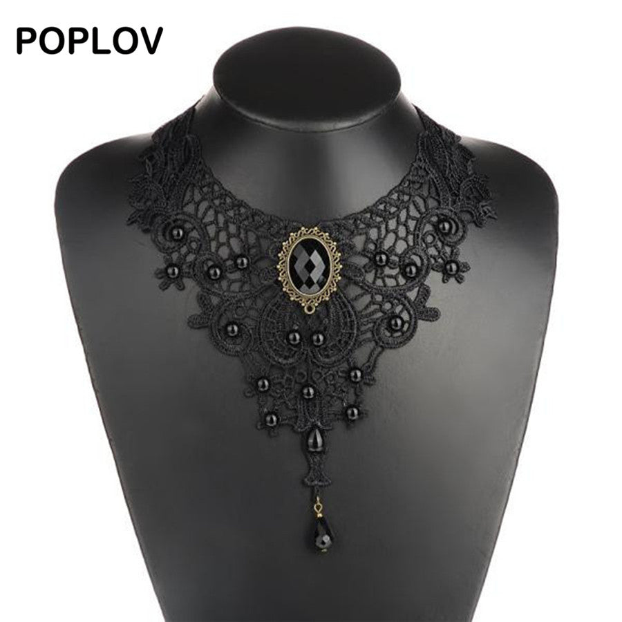 Vintage Black&White Lace Choker Necklace Charm Ribbon Wedding Bijou Collar Jewelry Hollow Velvet Short Jewellery