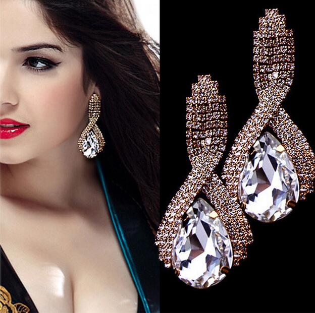 USA-Fashion accessories fine sparkling crystal big gold drop earrings for Women