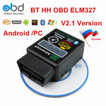 HH OBD ELM 327 V2.1 Bluetooth Scan Tool Vgate Mini ELM327 Car Diagnostic Scanner For Android Torque PC 12 Languages