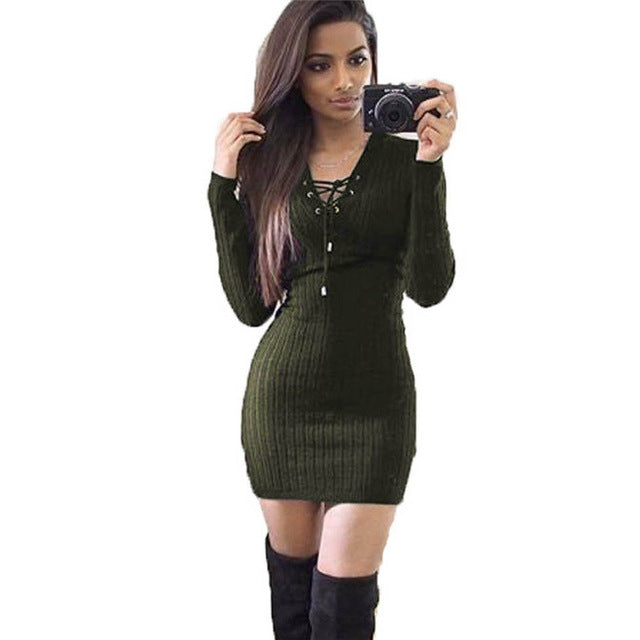 women sweater dress autumn sexy lace up bandage bodycon christmas party dresses robe pull femme hiver
