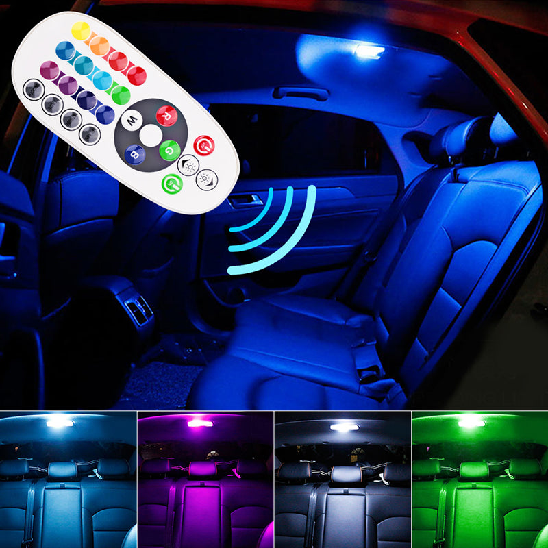 Remote Control Car Interior RGB LED Car Reading Light DC 12V T10 5050 Bright Lamp Bulb Auto Interior Lamps Clearance light