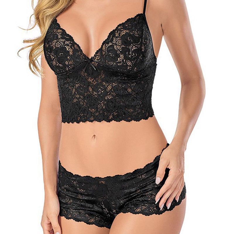 2 PCS Transparent Bra Set For c 3XL 4XL Half Cup Bra And Floral Lace Panties Plus Size Underwear Set Sexy Lingerie Femme