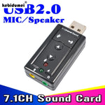 USB VIRTUAL 7.1 Channel 3D Speaker Audio Microphone Sound Card Mic Adapter 3.5mm Jack Stereo Headset Converter