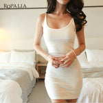 Slim Lady Sleeveless Vestidos Sexy Solid Bodycon Cotton Spaghetti Strap Base Club Mini Dress