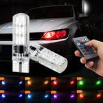 2 Pieces T10 W5W LED Car Lights LED Bulbs RGB With Remote Control 194 168 501 Strobe Led Lamp Reading Lights White Red Amber 12V