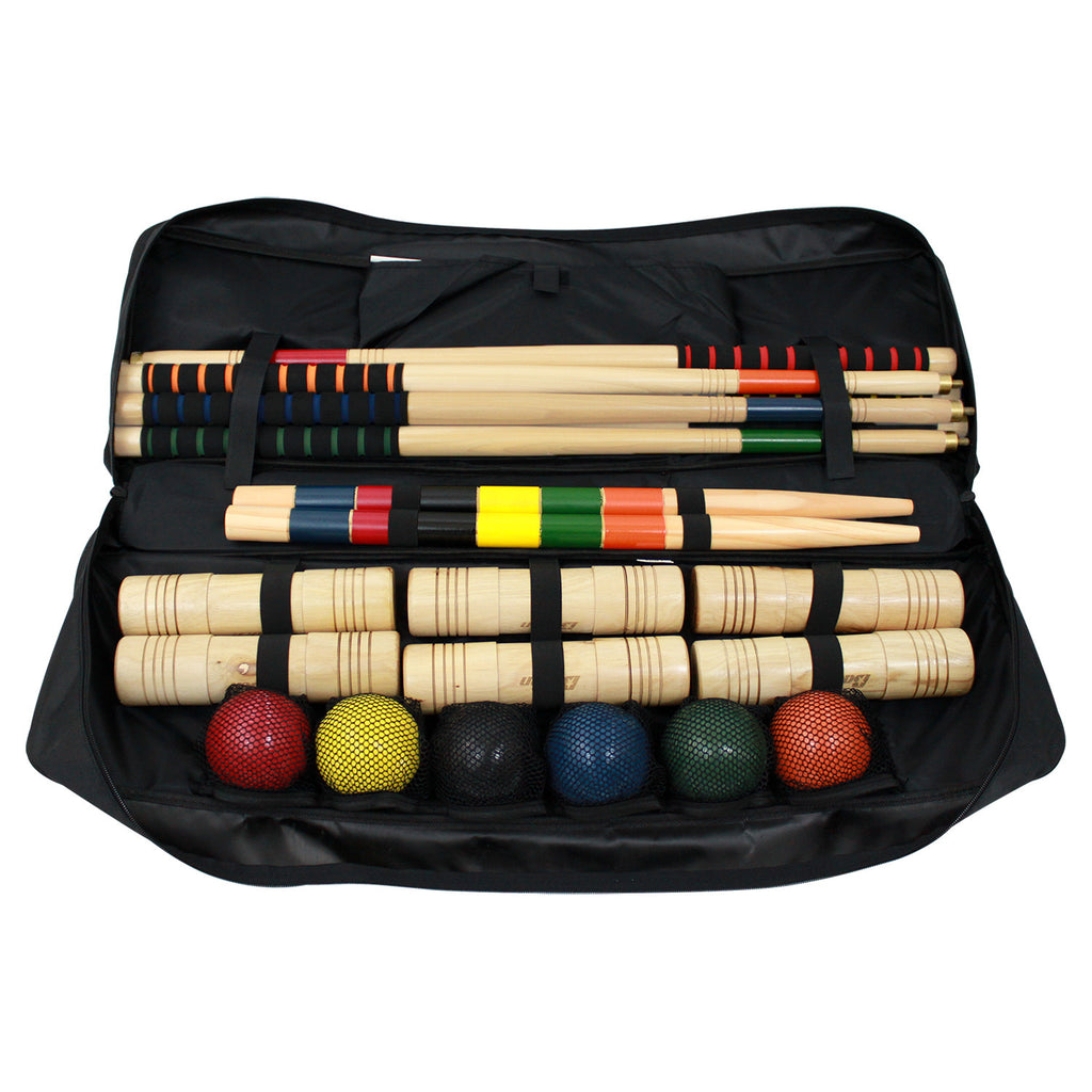 Set includes 6 hardwood mallets with soft grip handles, 6 brightly colored poly-resin balls, 9 steel wickets, 2 hardwood end posts, and instructions
