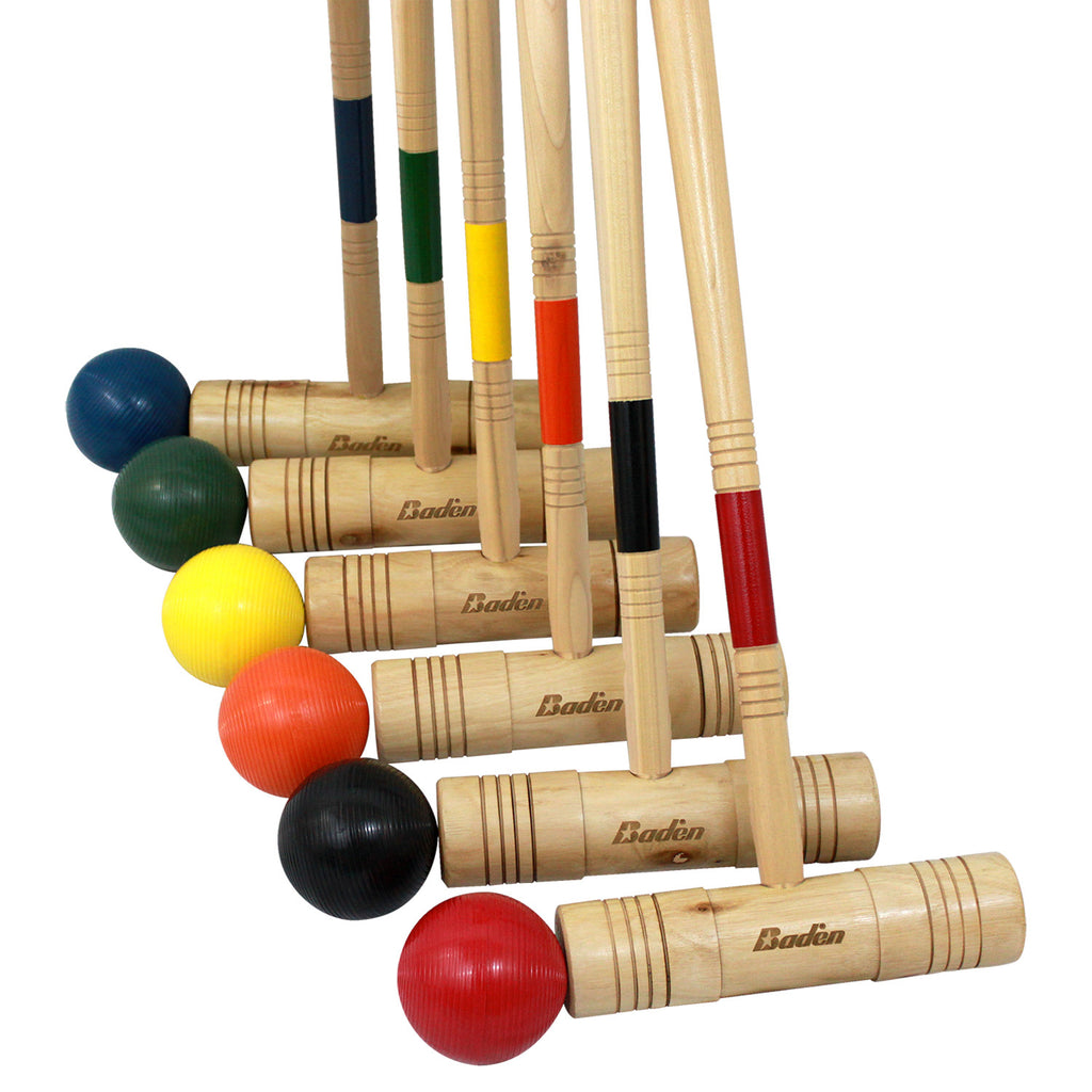 6 hardwood mallets with soft grip handles, 6 brightly colored poly-resin balls