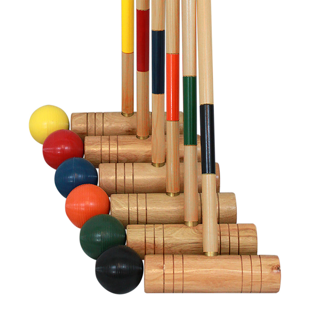 6 hardwood mallets and 6 brightly colored poly-resin balls