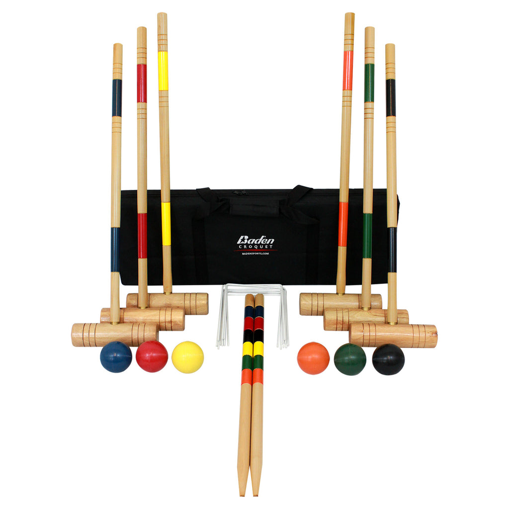 Set inlcudes 6 Hardwood mallets, 6 brightly colored poly-resin balls, 9 steel wickets, 2 hardwood end posts, and instructions