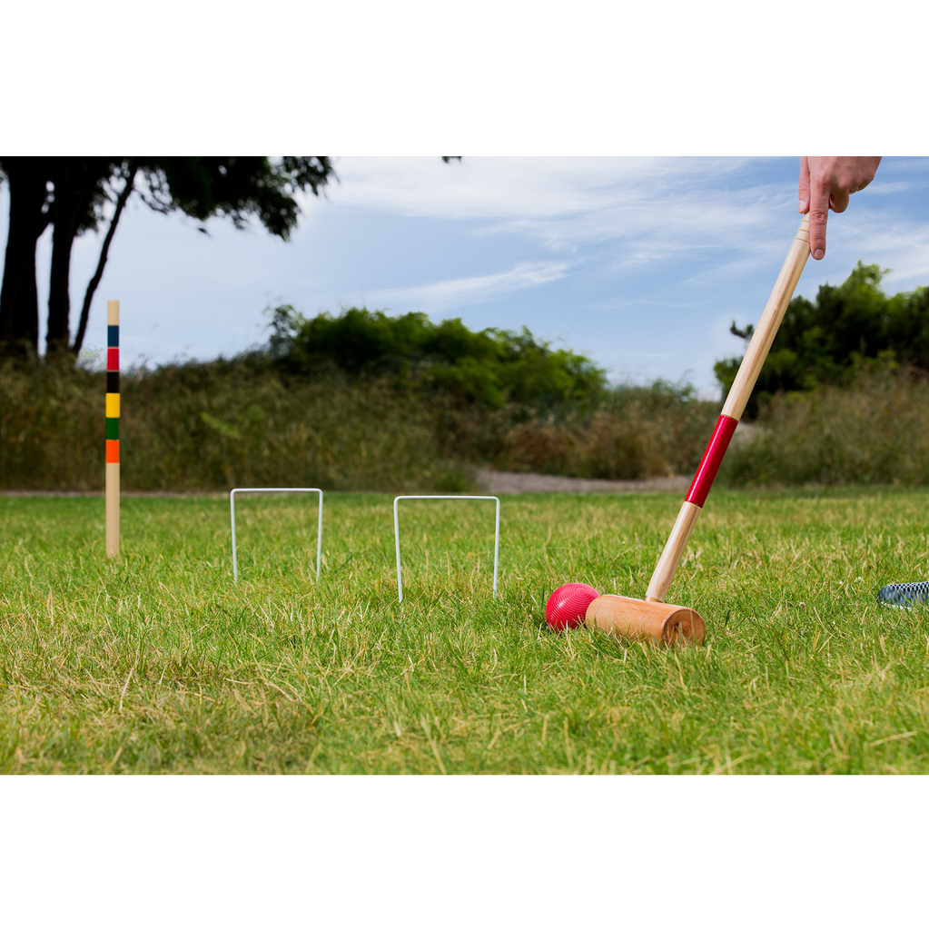 Playing with the Baden Deluxe Croquet Set.