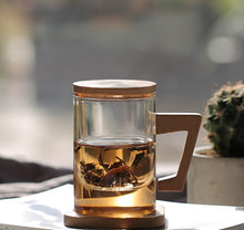 Load image into Gallery viewer, Glass Mug with Wooden Stand & Lid