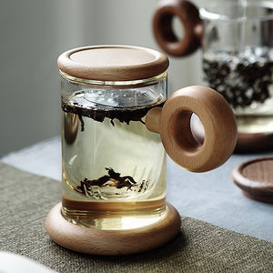Circled Handel Glass Mug with Wooden Stand & Lid