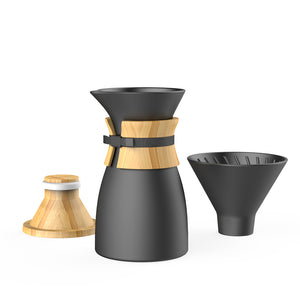 Bamboo Wood Coffee Filter Pot