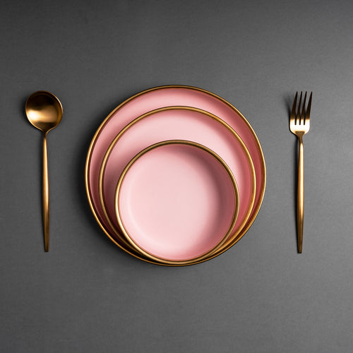 The Pink Golden Plates Set of Three with Bowl