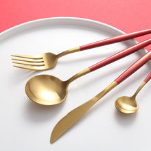Load image into Gallery viewer, Red & Gold Matte Cutlery Set