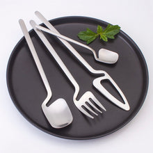 Load image into Gallery viewer, Silver Matte Germanic Cutlery Set