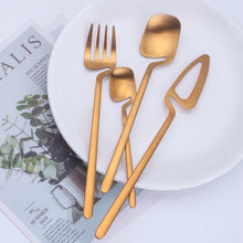 Load image into Gallery viewer, Gold Matte Germanic Cutlery Set