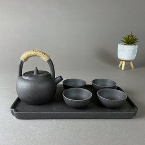 Mini Black Ancient Japanese Tea Pot and Cups