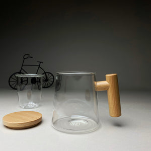 Cone Shaped Glass Mug with Wooden Lid